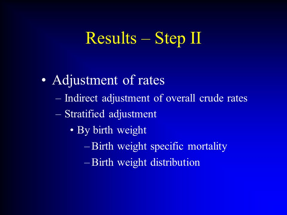 Results – Step II Adjustment of rates –Indirect adjustment of overall crude rates –Stratified adjustment By birth weight –Birth weight specific mortal