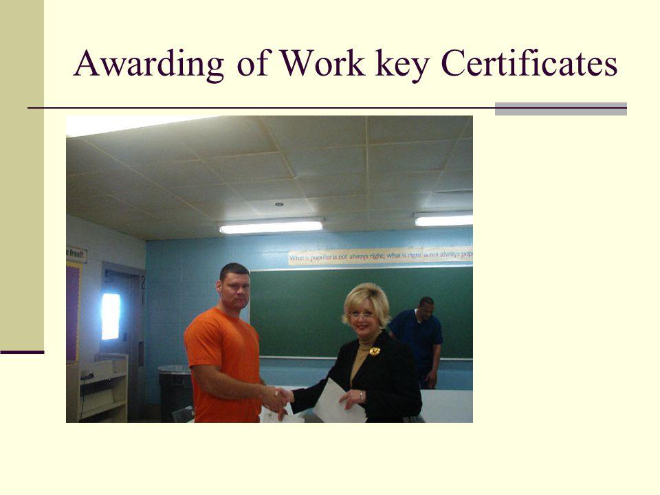 Awarding of Work key Certificates