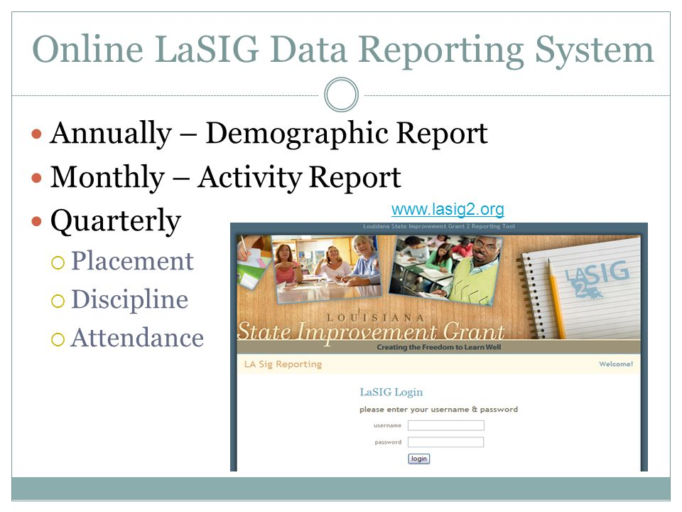 Online LaSIG Data Reporting System Annually – Demographic Report Monthly – Activity Report Quarterly  Placement  Discipline  Attendance www.lasig2.org