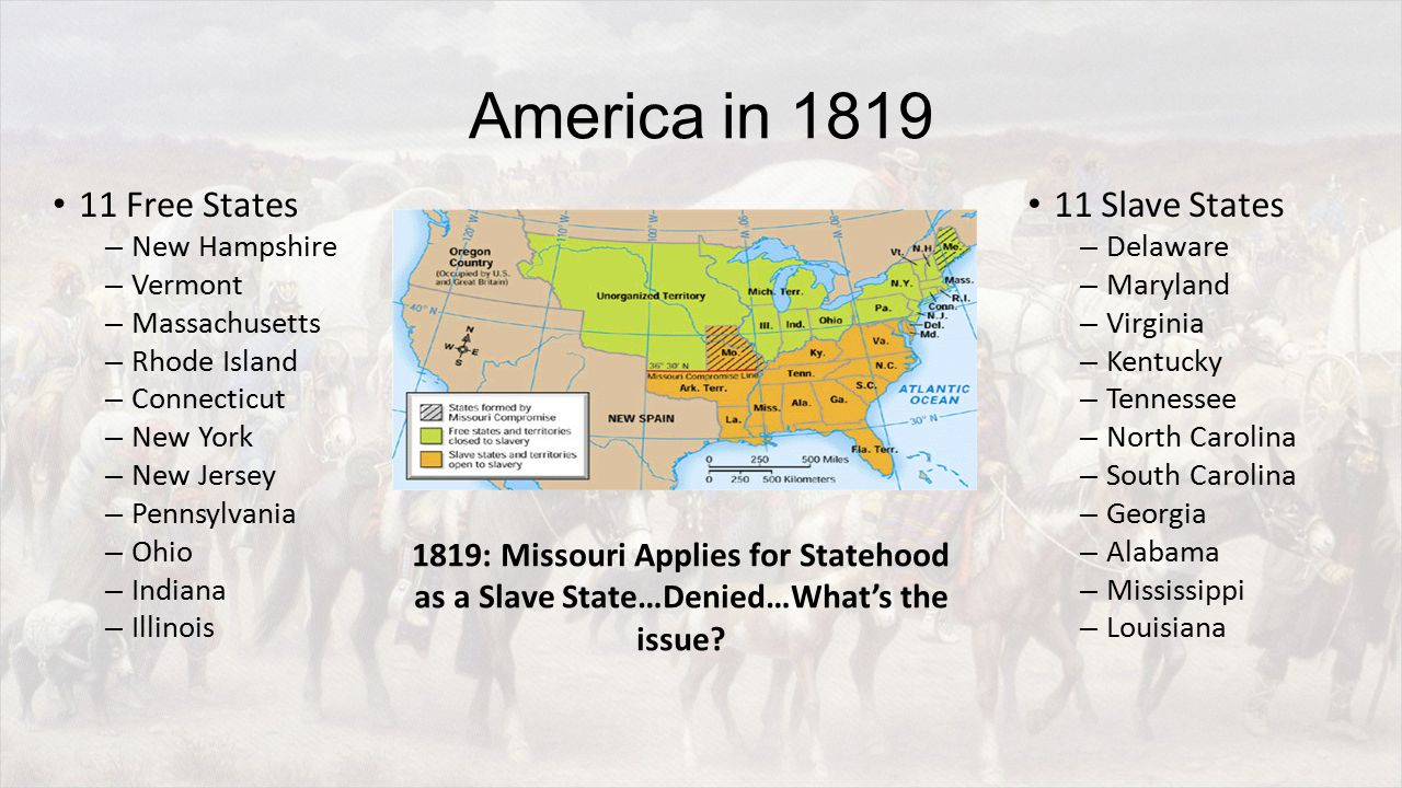 America in 1819 11 Free States – New Hampshire – Vermont – Massachusetts – Rhode Island – Connecticut – New York – New Jersey – Pennsylvania – Ohio – Indiana – Illinois 11 Slave States – Delaware – Maryland – Virginia – Kentucky – Tennessee – North Carolina – South Carolina – Georgia – Alabama – Mississippi – Louisiana 1819: Missouri Applies for Statehood as a Slave State…Denied…What's the issue
