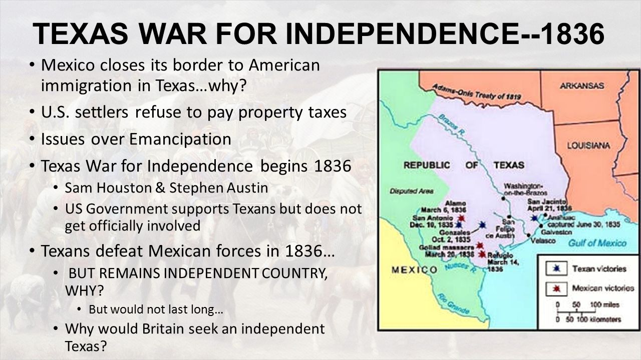 TEXAS WAR FOR INDEPENDENCE--1836 Mexico closes its border to American immigration in Texas…why.