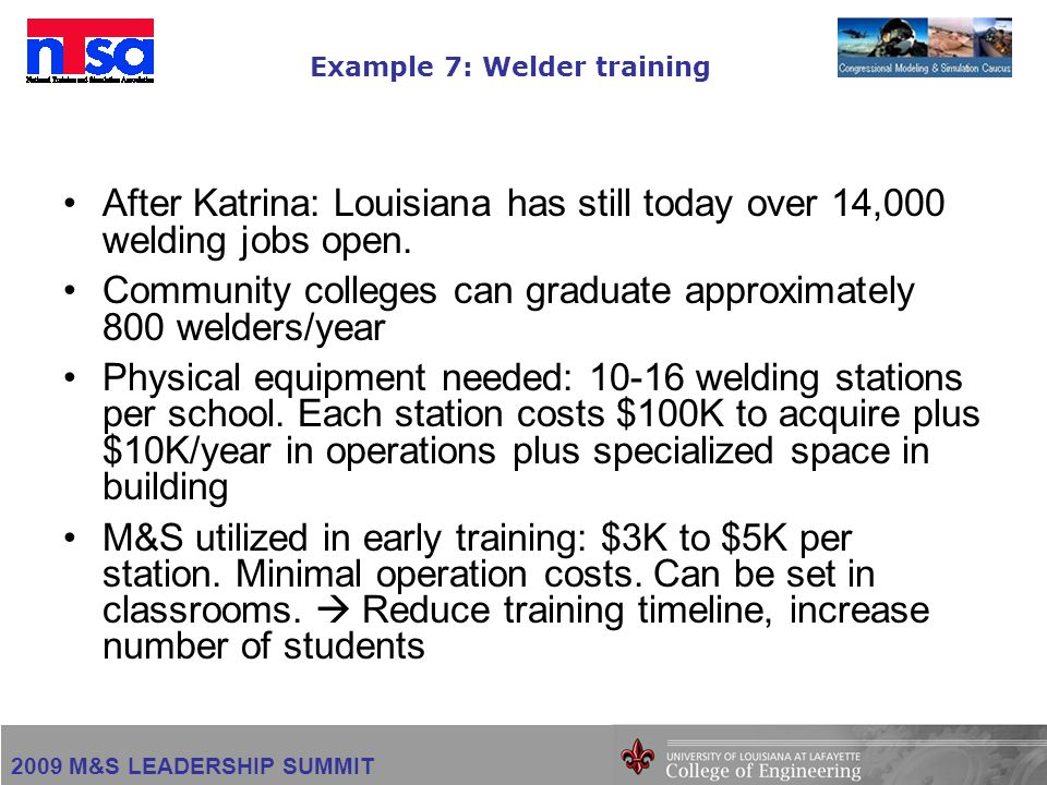2009 M&S LEADERSHIP SUMMIT Example 7: Welder training After Katrina: Louisiana has still today over 14,000 welding jobs open. Community colleges can g