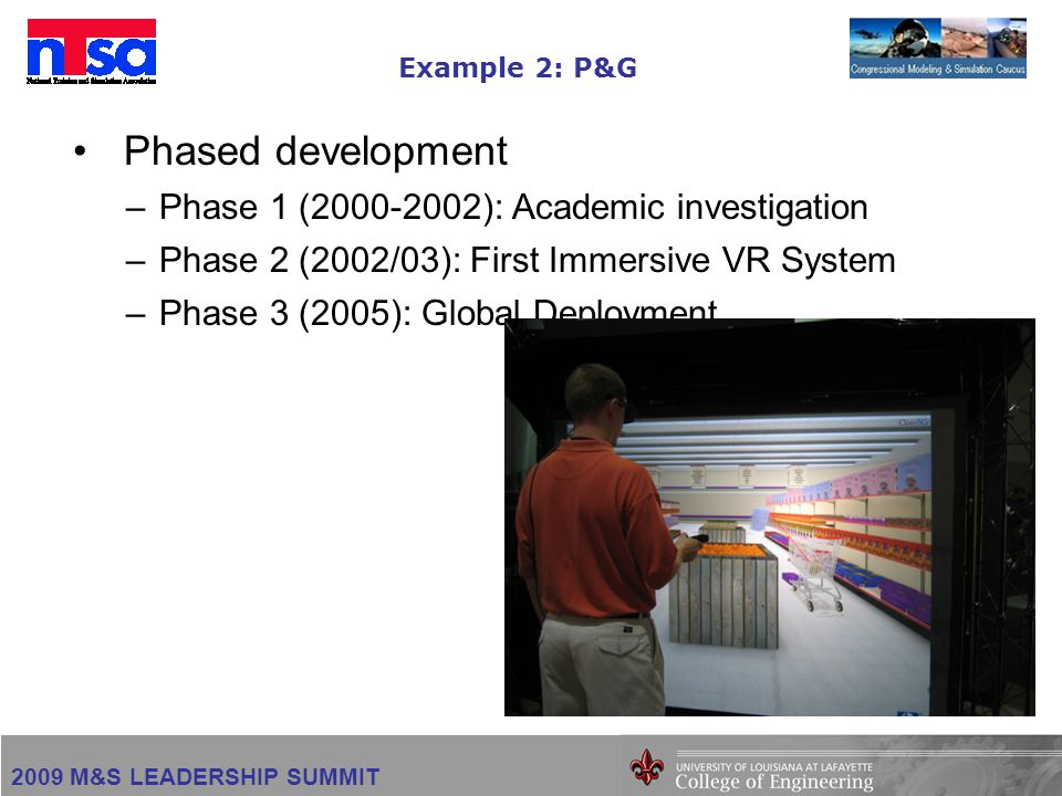 2009 M&S LEADERSHIP SUMMIT Example 2: P&G Phased development –Phase 1 (2000-2002): Academic investigation –Phase 2 (2002/03): First Immersive VR System –Phase 3 (2005): Global Deployment