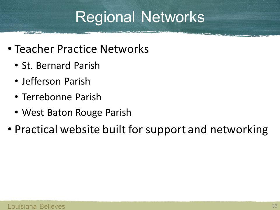 Regional Networks 33 Louisiana Believes Teacher Practice Networks St.