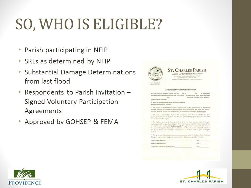 SO, WHO IS ELIGIBLE.