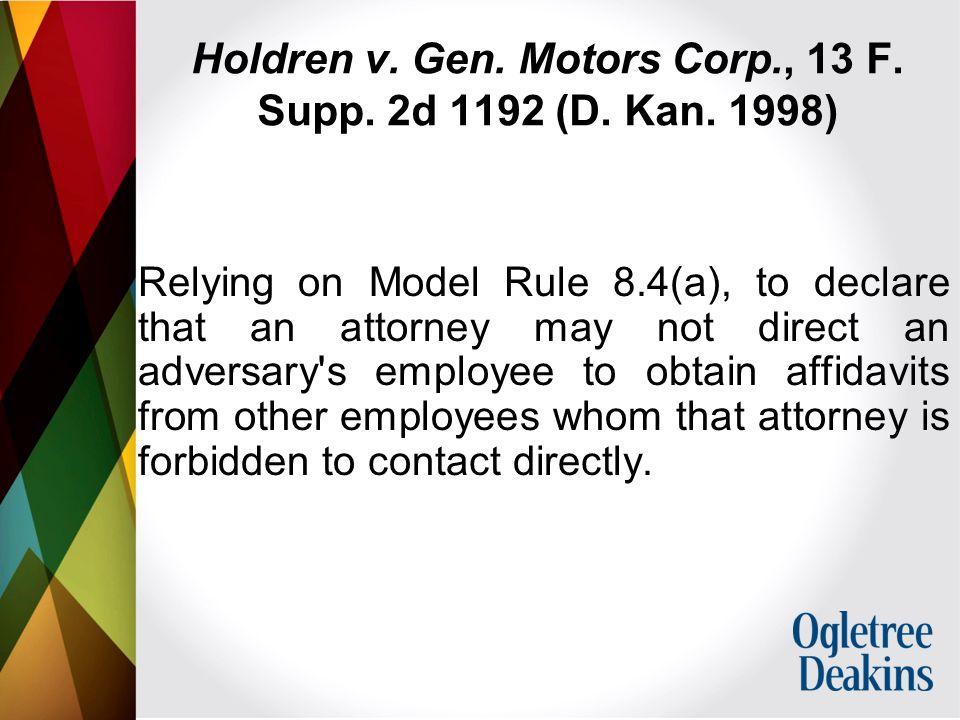 Holdren v. Gen. Motors Corp., 13 F. Supp. 2d 1192 (D.