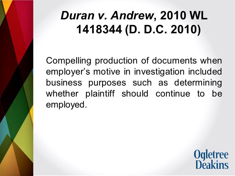 Duran v. Andrew, 2010 WL 1418344 (D. D.C.
