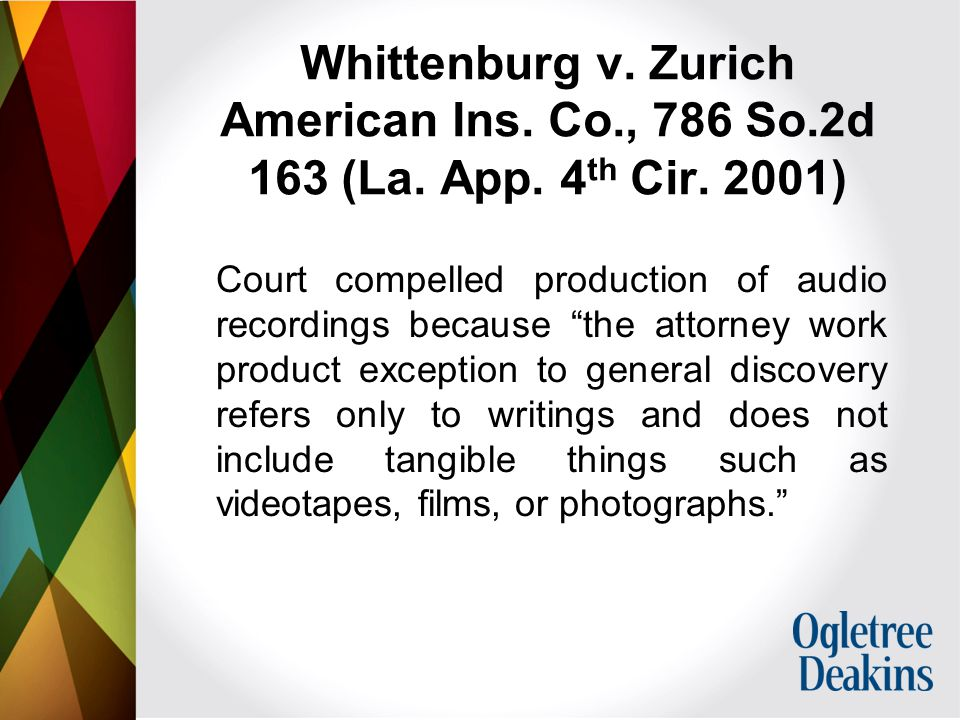 Whittenburg v. Zurich American Ins. Co., 786 So.2d 163 (La.