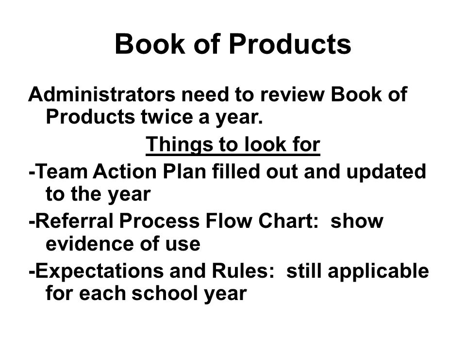 Book of Products Administrators need to review Book of Products twice a year.