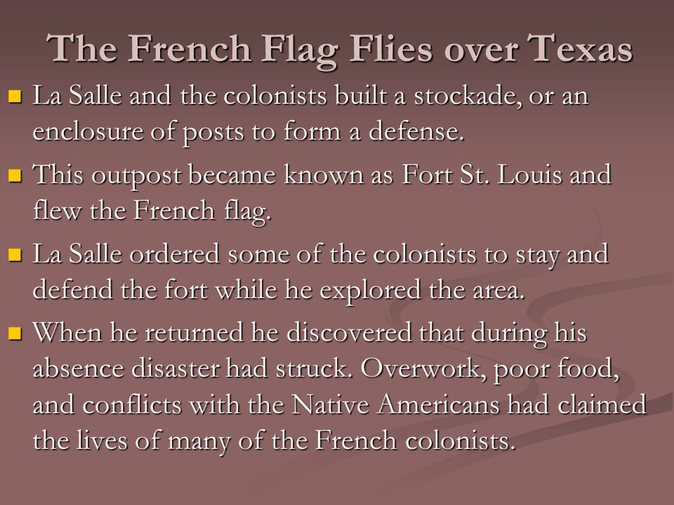 The French Flag Flies over Texas La Salle and the colonists built a stockade, or an enclosure of posts to form a defense.
