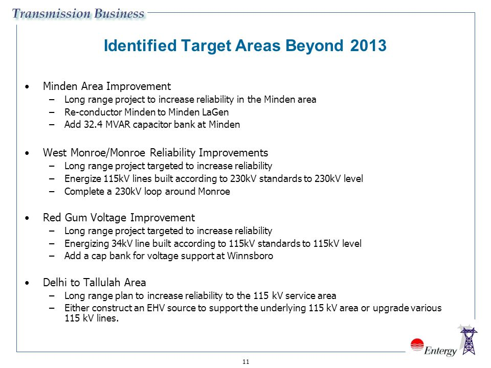 11 Identified Target Areas Beyond 2013 Minden Area Improvement –Long range project to increase reliability in the Minden area –Re-conductor Minden to
