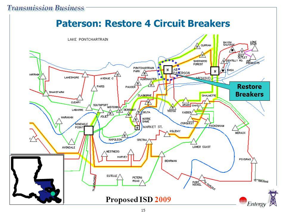 15 Paterson: Restore 4 Circuit Breakers Restore Breakers Proposed ISD 2009