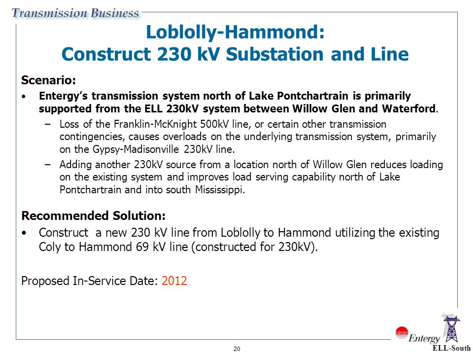 20 Loblolly-Hammond: Construct 230 kV Substation and Line Scenario: Entergy's transmission system north of Lake Pontchartrain is primarily supported f