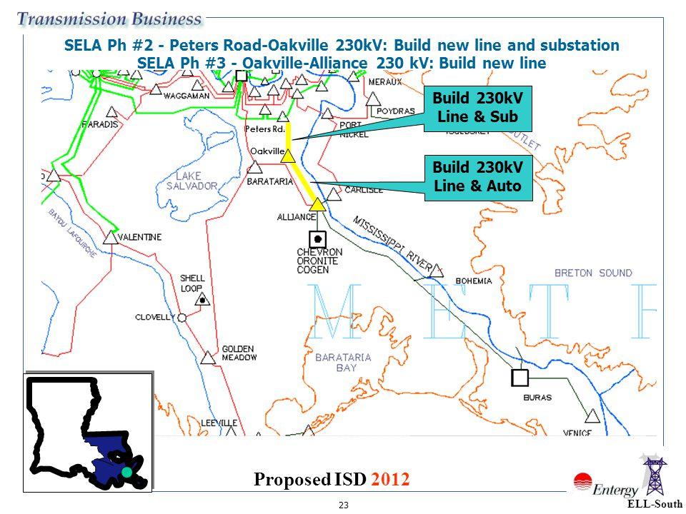 23 ELL-South SELA Ph #2 - Peters Road-Oakville 230kV: Build new line and substation SELA Ph #3 - Oakville-Alliance 230 kV: Build new line Build 230kV