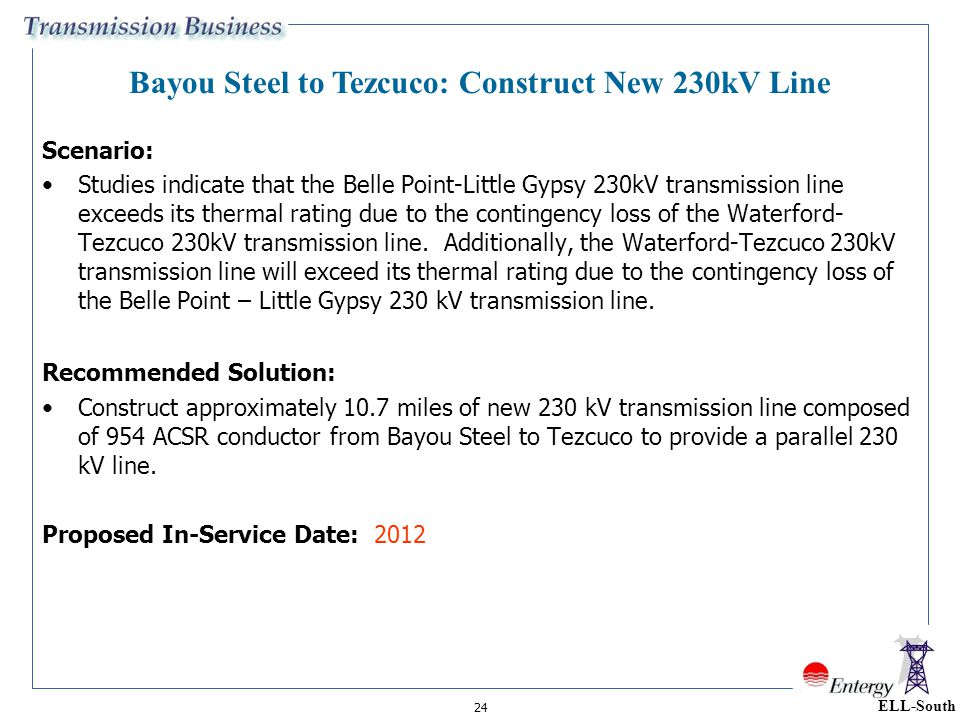 24 Scenario: Studies indicate that the Belle Point-Little Gypsy 230kV transmission line exceeds its thermal rating due to the contingency loss of the