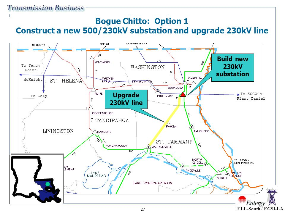 27 McKnight To Franklin To SOCO's Plant Daniel To Coly To Fancy Point Bogue Chitto: Option 1 Construct a new 500/230kV substation and upgrade 230kV li