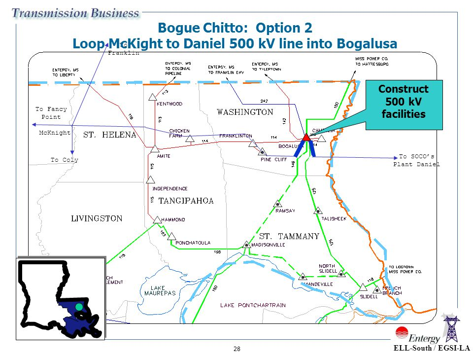 28 McKnight To Franklin To SOCO's Plant Daniel To Coly To Fancy Point Bogue Chitto: Option 2 Loop McKight to Daniel 500 kV line into Bogalusa Construc