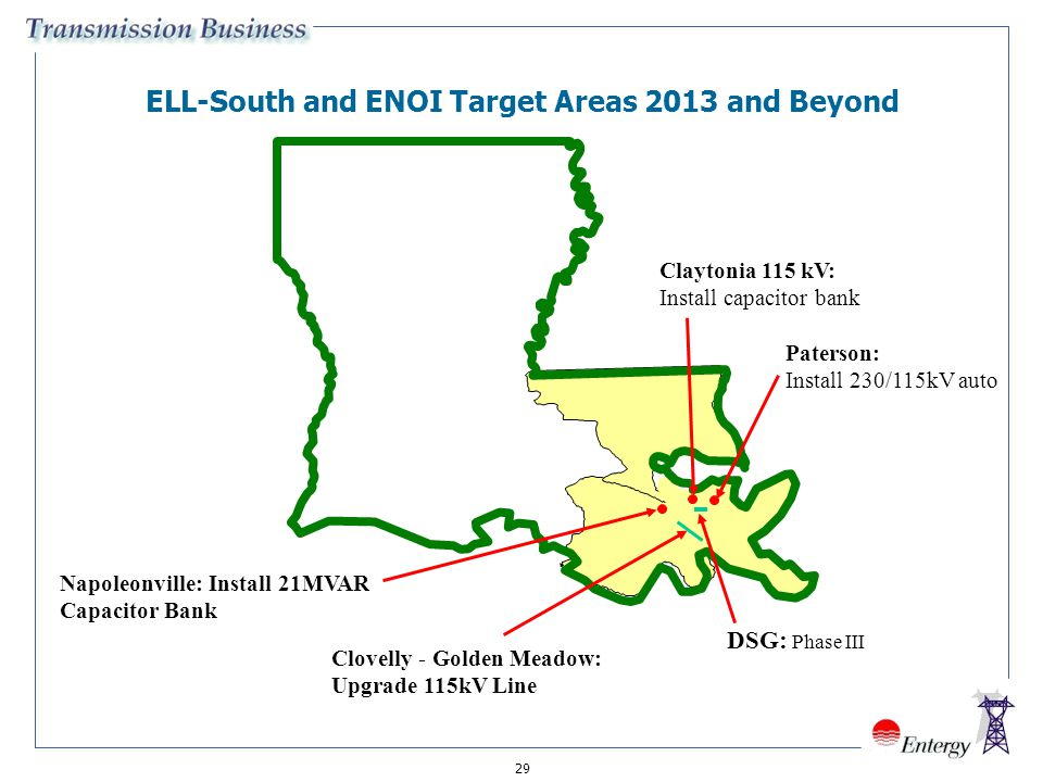 29 ELL-South and ENOI Target Areas 2013 and Beyond Clovelly - Golden Meadow: Upgrade 115kV Line Paterson: Install 230/115kV auto Napoleonville: Instal