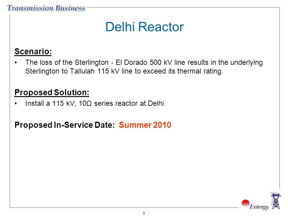 3 Delhi Reactor Scenario: The loss of the Sterlington - El Dorado 500 kV line results in the underlying Sterlington to Tallulah 115 kV line to exceed