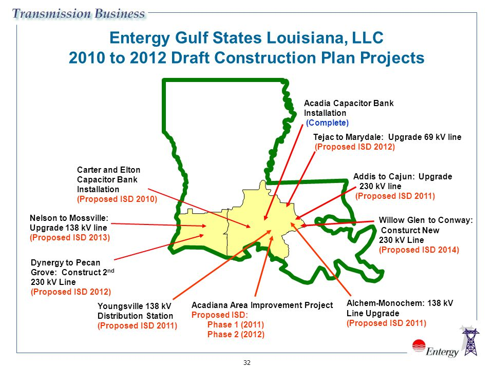 32 Entergy Gulf States Louisiana, LLC 2010 to 2012 Draft Construction Plan Projects Carter and Elton Capacitor Bank Installation (Proposed ISD 2010) A