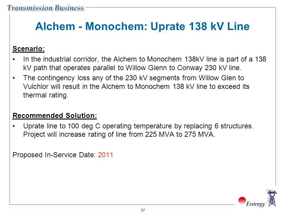 37 Alchem - Monochem: Uprate 138 kV Line Scenario: In the industrial corridor, the Alchem to Monochem 138kV line is part of a 138 kV path that operate