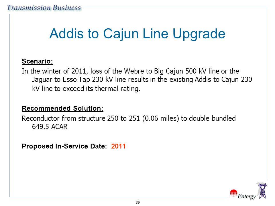 39 Addis to Cajun Line Upgrade Scenario: In the winter of 2011, loss of the Webre to Big Cajun 500 kV line or the Jaguar to Esso Tap 230 kV line resul
