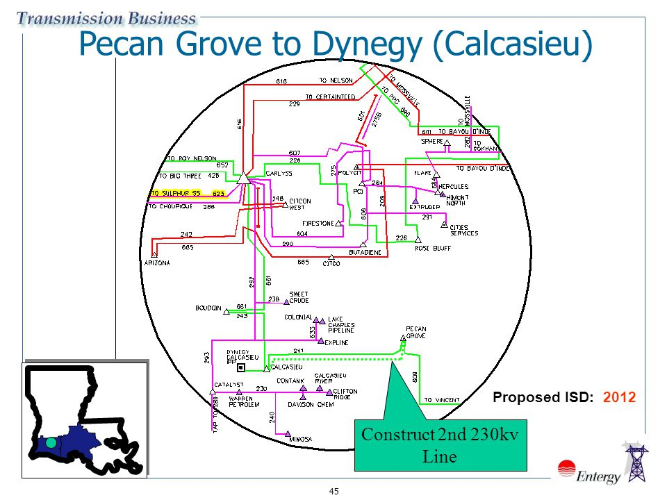 45 Pecan Grove to Dynegy (Calcasieu) Construct 2nd 230kv Line Proposed ISD: 2012