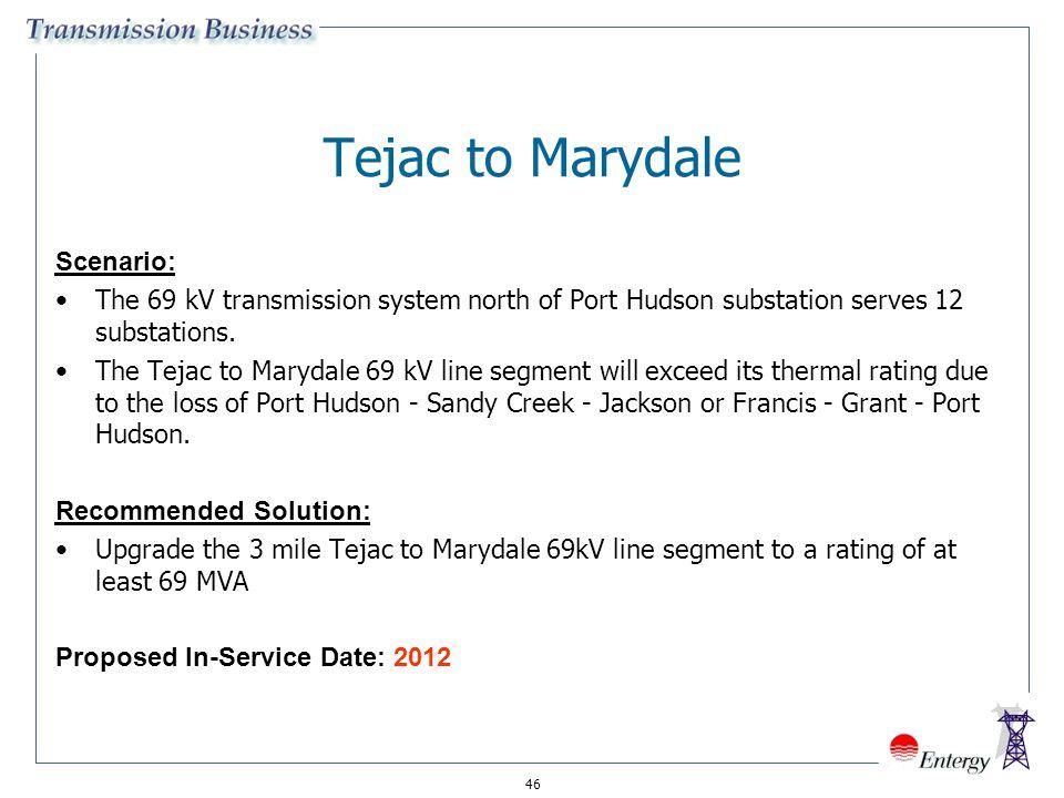 46 Tejac to Marydale Scenario: The 69 kV transmission system north of Port Hudson substation serves 12 substations. The Tejac to Marydale 69 kV line s