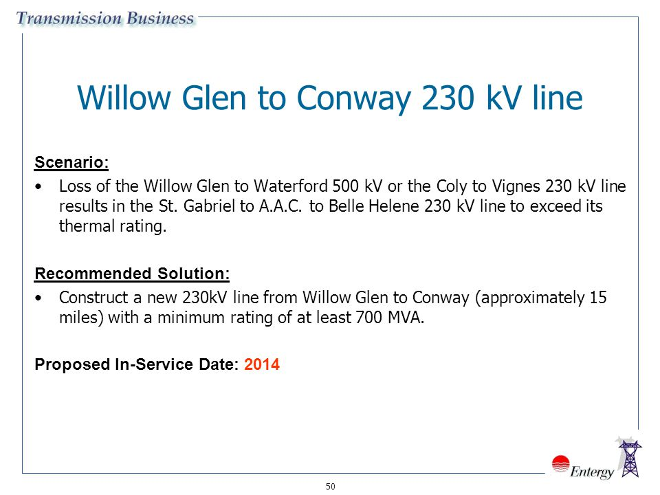50 Willow Glen to Conway 230 kV line Scenario: Loss of the Willow Glen to Waterford 500 kV or the Coly to Vignes 230 kV line results in the St. Gabrie