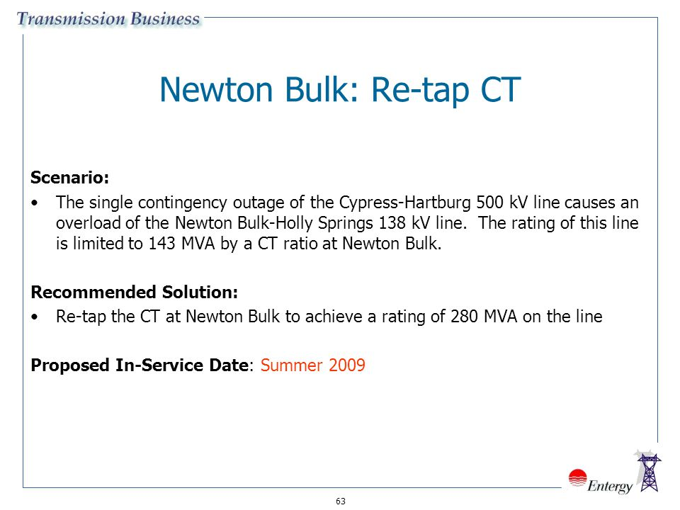63 Newton Bulk: Re-tap CT Scenario: The single contingency outage of the Cypress-Hartburg 500 kV line causes an overload of the Newton Bulk-Holly Spri