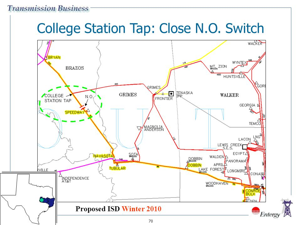 70 College Station Tap: Close N.O. Switch COLLEGE STATION TAP N.O. Proposed ISD Winter 2010