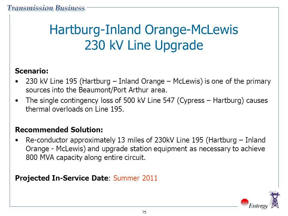 75 Hartburg-Inland Orange-McLewis 230 kV Line Upgrade Scenario: 230 kV Line 195 (Hartburg – Inland Orange – McLewis) is one of the primary sources int