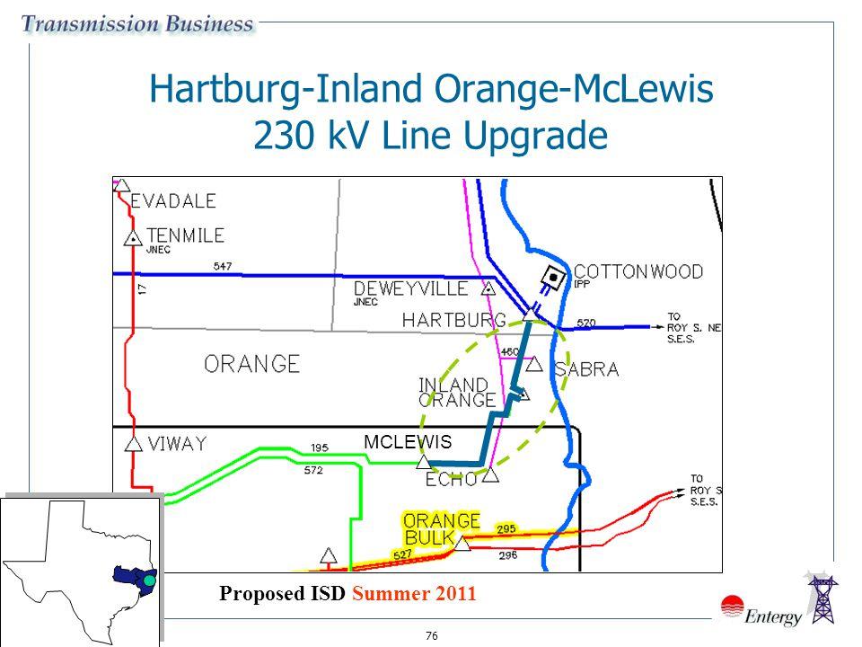 76 Hartburg-Inland Orange-McLewis 230 kV Line Upgrade MCLEWIS Proposed ISD Summer 2011