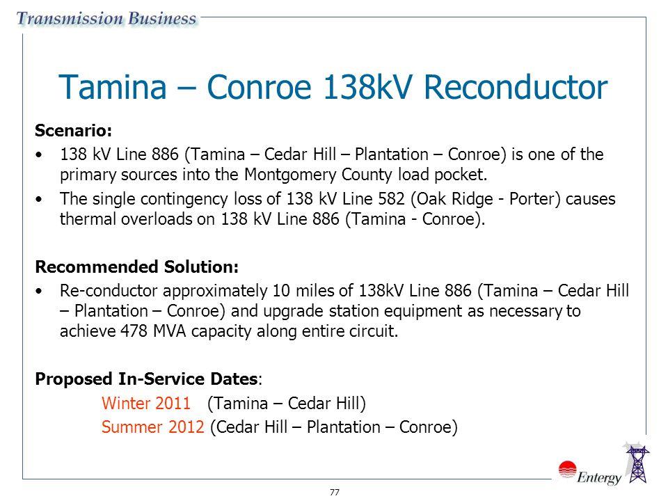 77 Tamina – Conroe 138kV Reconductor Scenario: 138 kV Line 886 (Tamina – Cedar Hill – Plantation – Conroe) is one of the primary sources into the Mont