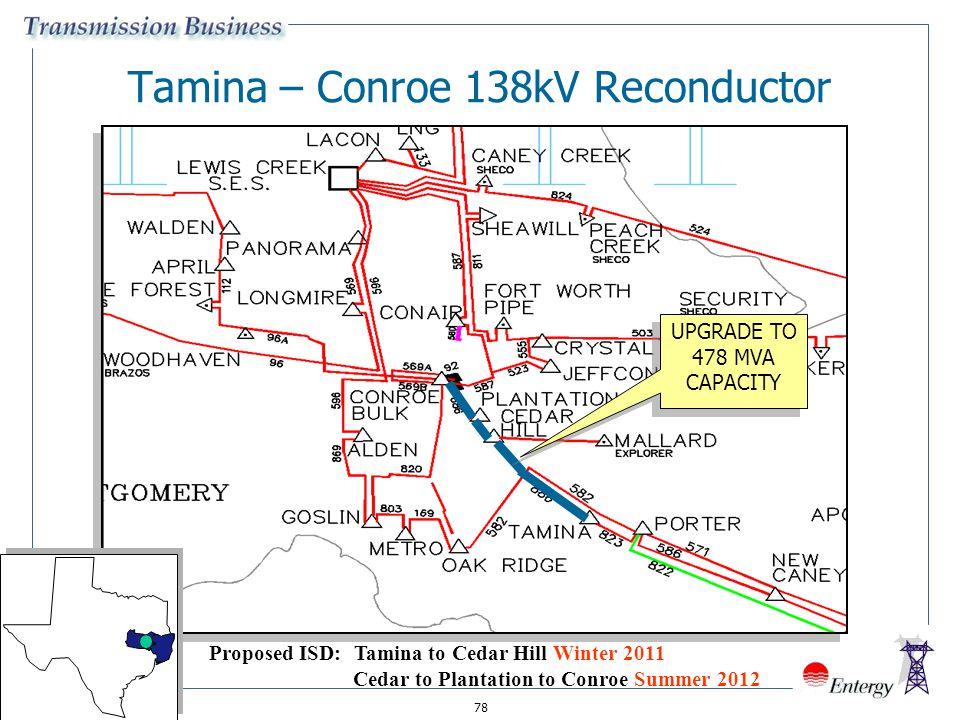 78 Tamina – Conroe 138kV Reconductor UPGRADE TO 478 MVA CAPACITY Proposed ISD: Tamina to Cedar Hill Winter 2011 Cedar to Plantation to Conroe Summer 2