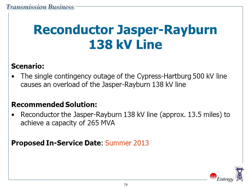 79 Reconductor Jasper-Rayburn 138 kV Line Scenario: The single contingency outage of the Cypress-Hartburg 500 kV line causes an overload of the Jasper
