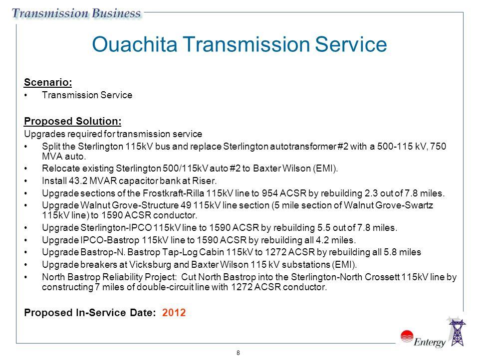 8 Ouachita Transmission Service Scenario: Transmission Service Proposed Solution: Upgrades required for transmission service Split the Sterlington 115