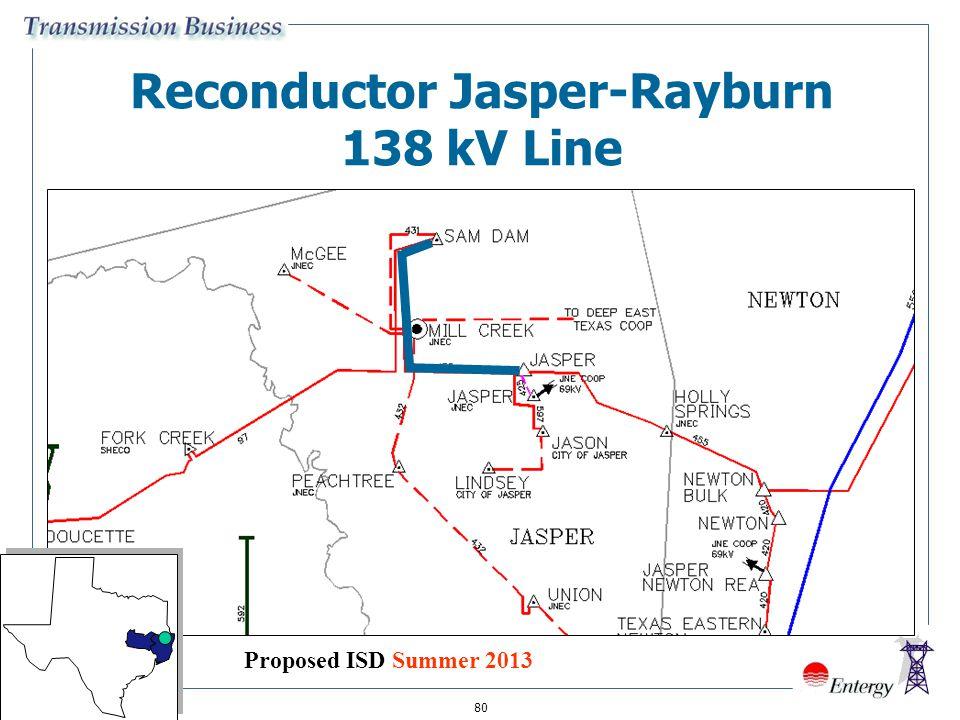 80 Reconductor Jasper-Rayburn 138 kV Line Proposed ISD Summer 2013