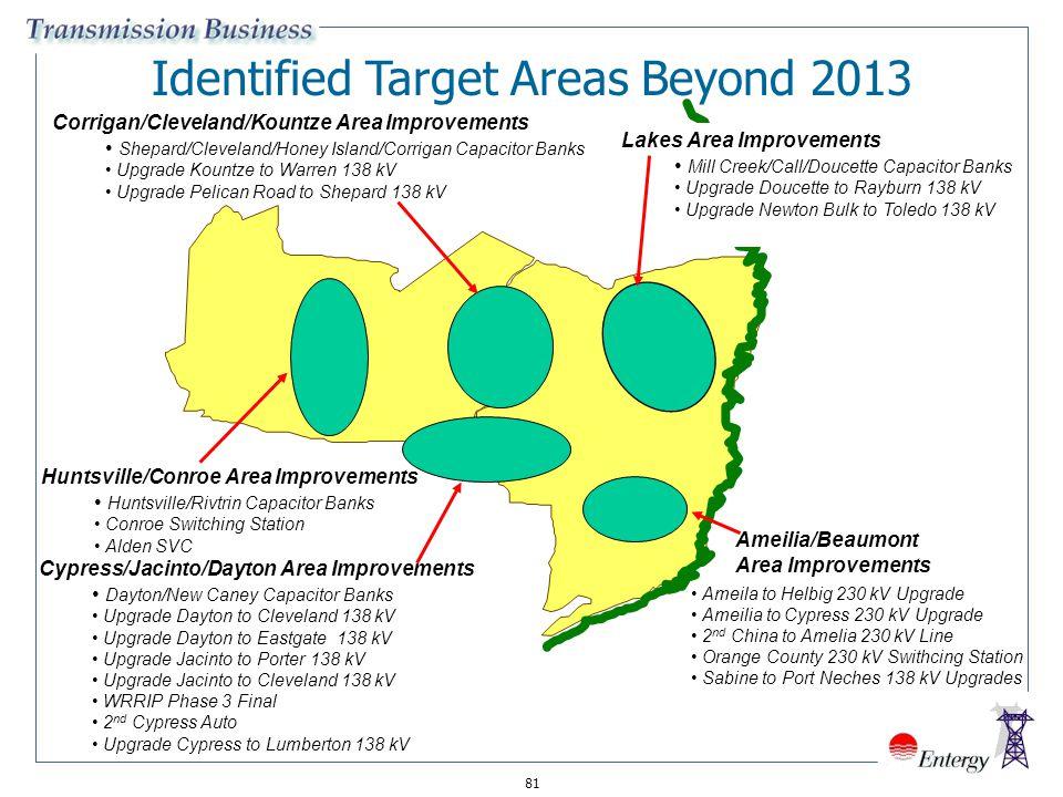 81 Identified Target Areas Beyond 2013 Corrigan/Cleveland/Kountze Area Improvements Shepard/Cleveland/Honey Island/Corrigan Capacitor Banks Upgrade Ko