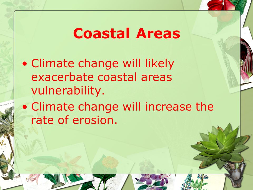 Coastal Areas Climate change will likely exacerbate coastal areas vulnerability.