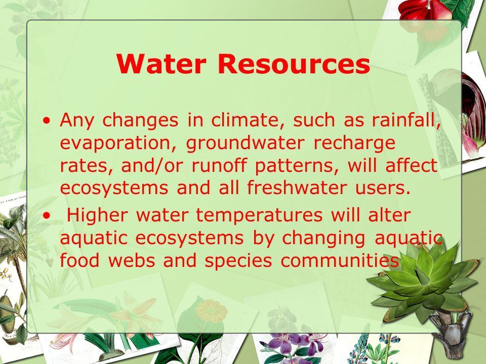 Water Resources Any changes in climate, such as rainfall, evaporation, groundwater recharge rates, and/or runoff patterns, will affect ecosystems and all freshwater users.