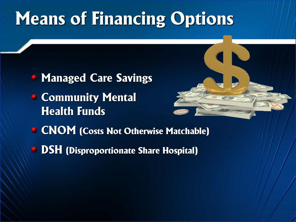 Means of Financing Options Managed Care Savings Community Mental Health Funds CNOM (Costs Not Otherwise Matchable) DSH (Disproportionate Share Hospital)
