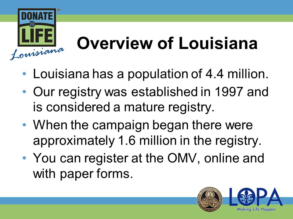 Donate Life Louisiana Hospital Campaign Our vision was to create a campaign that every hospital, regardless of size or type, could implement and have an impact on the waiting list.