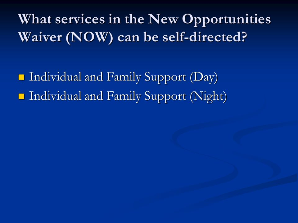 What services in the New Opportunities Waiver (NOW) can be self-directed.