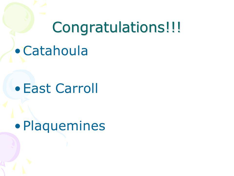 Congratulations!!! Catahoula East Carroll Plaquemines