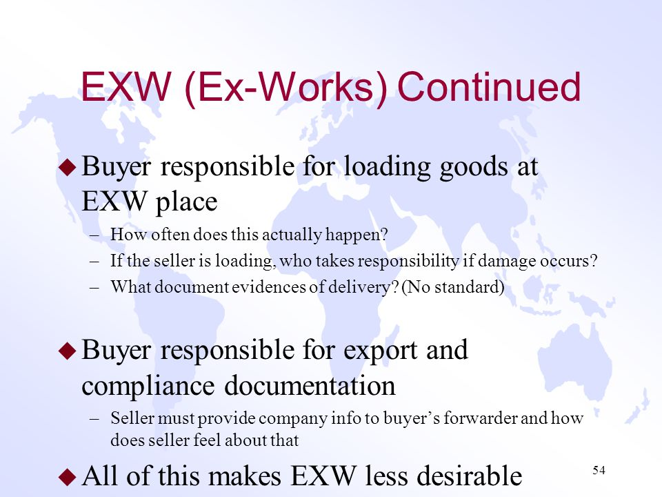 EXW (Ex-Works) u Any mode term u Least work for exporters/sellers –Popular among new exporters u Seller makes goods available for pickup (including ag