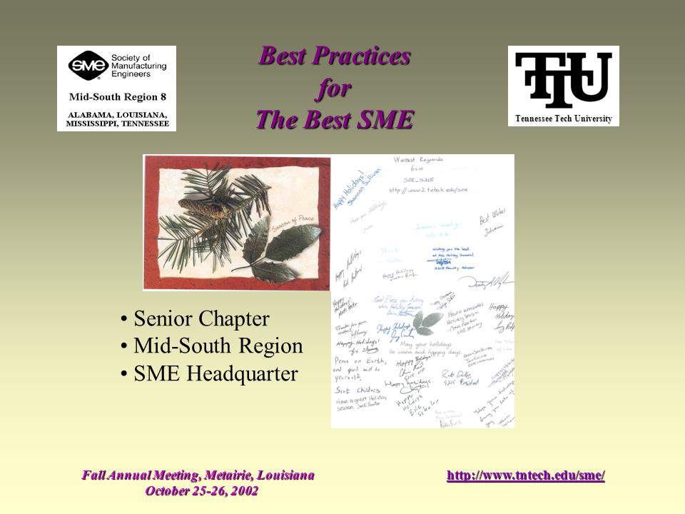Tennessee Tech University Best Practices for The Best SME Fall Annual Meeting, Metairie, Louisiana October 25-26, 2002 http://www.tntech.edu/sme/ Seni