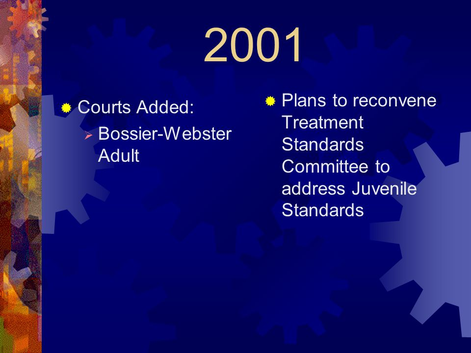 2001  Courts Added:  Bossier-Webster Adult  Plans to reconvene Treatment Standards Committee to address Juvenile Standards