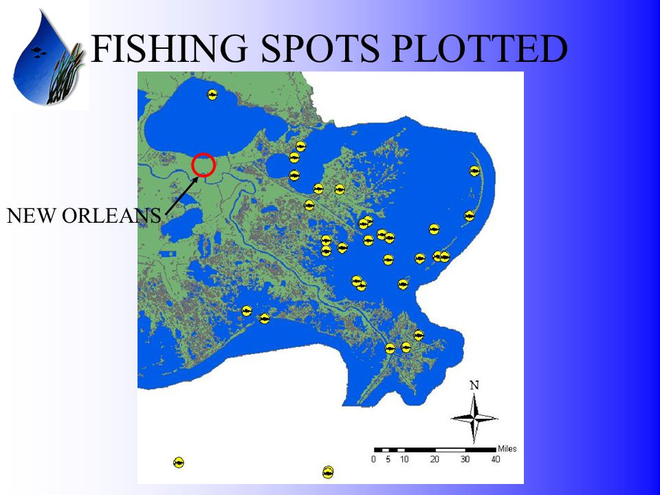 FISHING SPOTS PLOTTED NEW ORLEANS