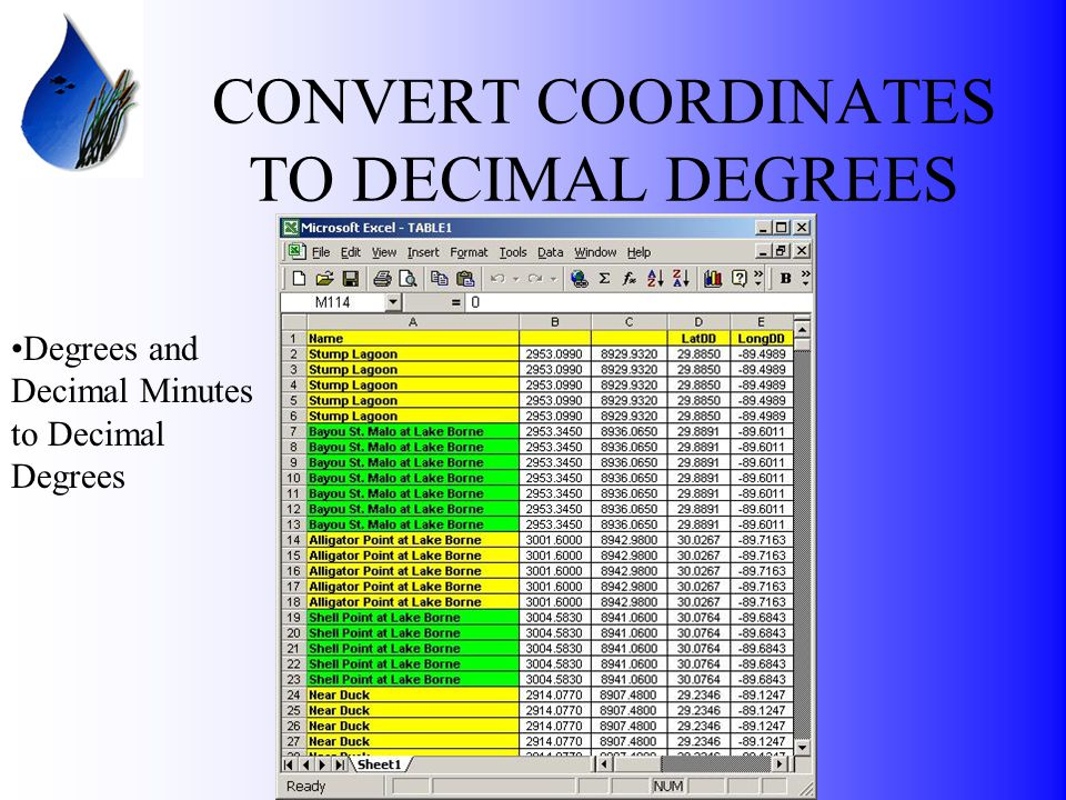 CONVERT COORDINATES TO DECIMAL DEGREES Degrees and Decimal Minutes to Decimal Degrees